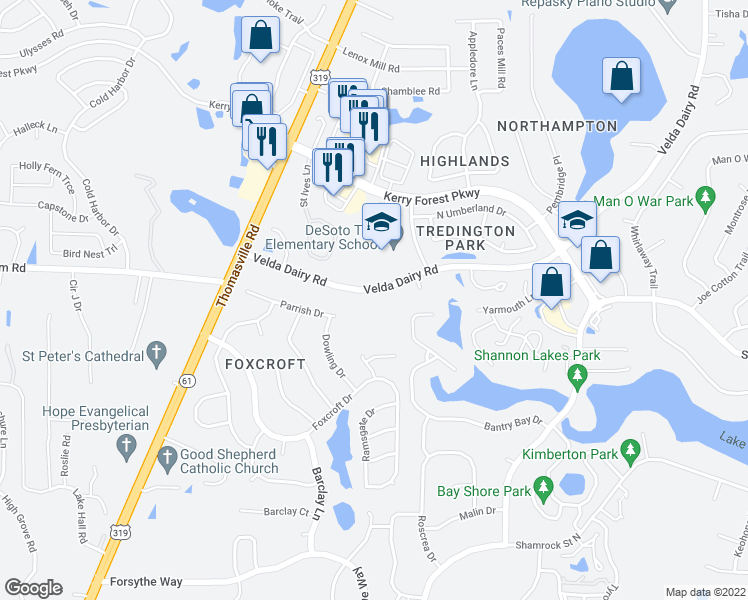 map of restaurants, bars, coffee shops, grocery stores, and more near 2953 Velda Dairy Road in Tallahassee