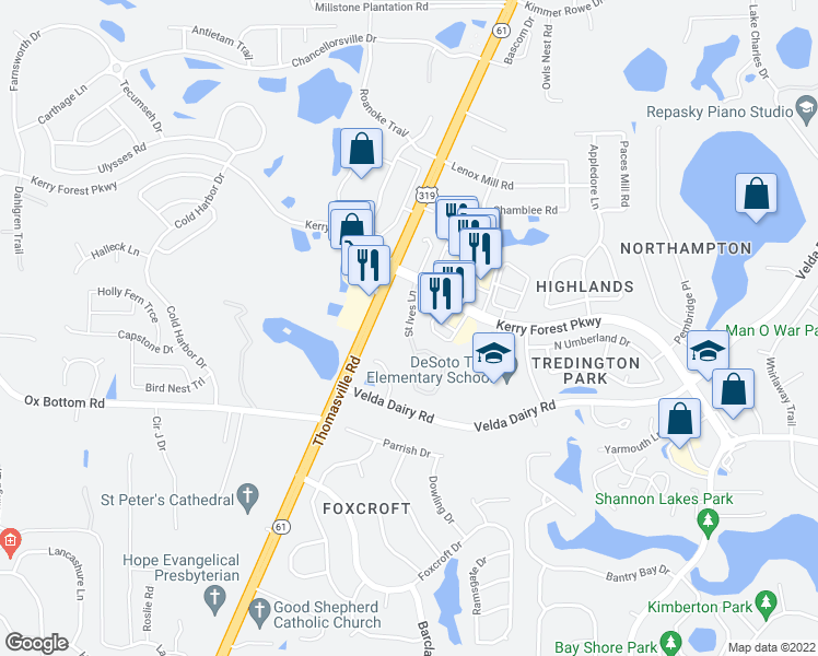 map of restaurants, bars, coffee shops, grocery stores, and more near 5344-5398 Saint Ives Lane in Tallahassee