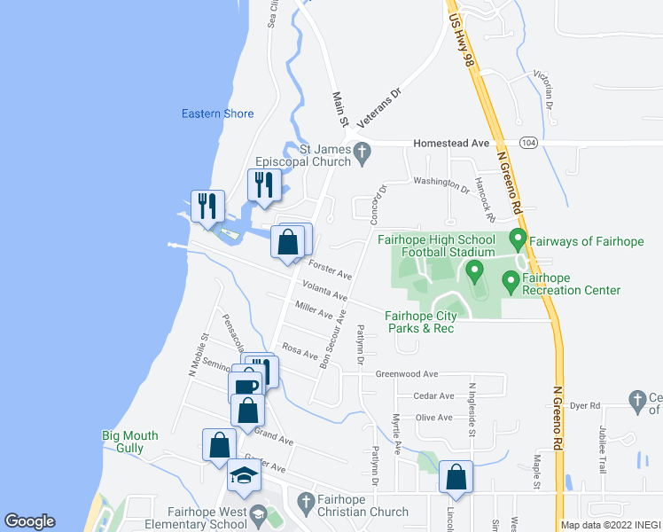 map of restaurants, bars, coffee shops, grocery stores, and more near 101 Fairhope Court North in Fairhope