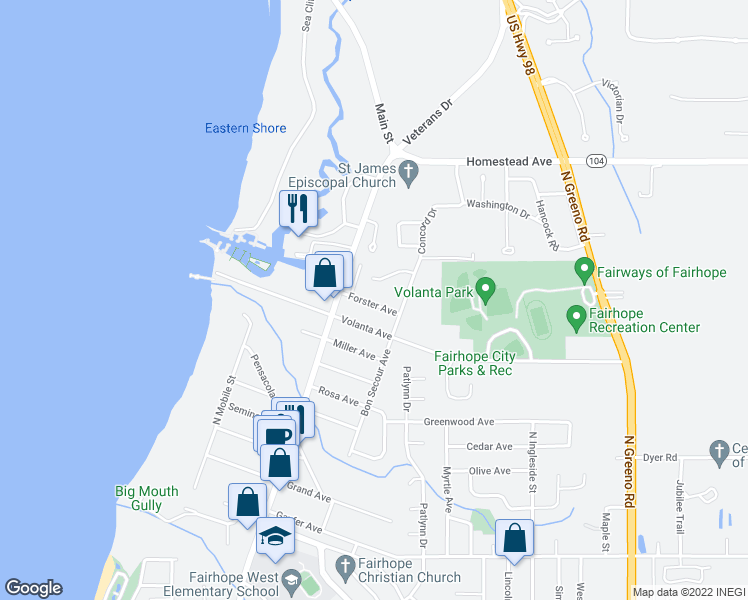map of restaurants, bars, coffee shops, grocery stores, and more near 101 Fairhope Avenue in Fairhope