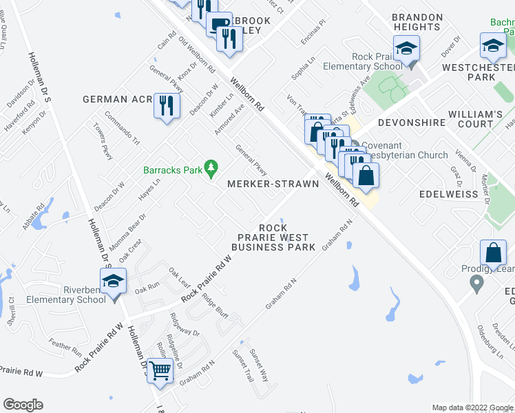 map of restaurants, bars, coffee shops, grocery stores, and more near 3204 Toni Court in College Station