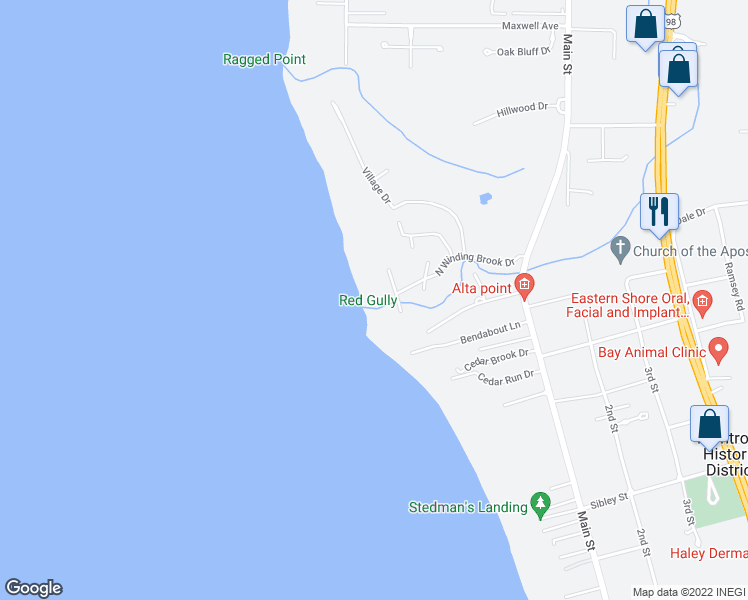 map of restaurants, bars, coffee shops, grocery stores, and more near 24211 Bay Shore Drive in Daphne