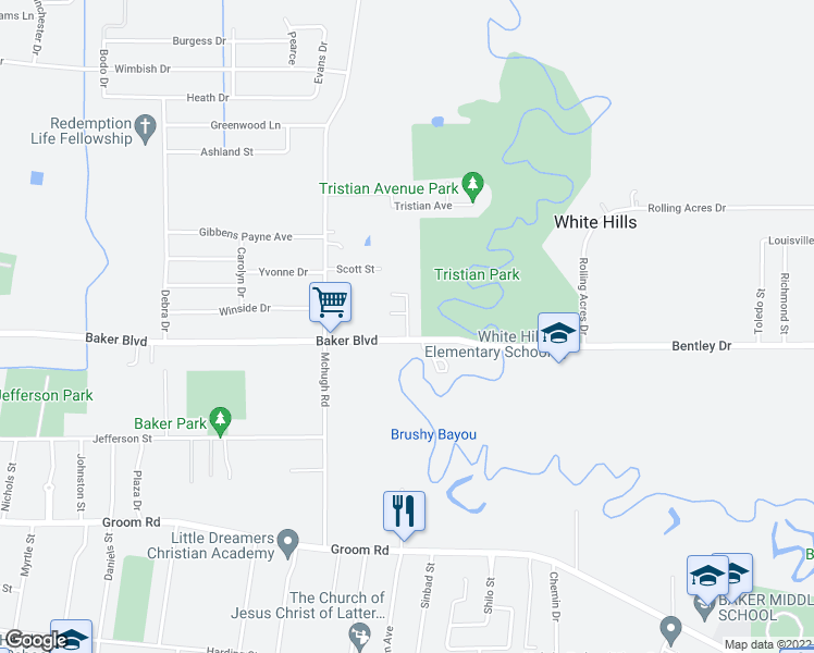 map of restaurants, bars, coffee shops, grocery stores, and more near 5210-5250 Bentley Drive in Baker