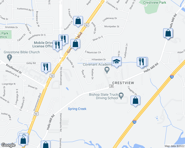 map of restaurants, bars, coffee shops, grocery stores, and more near Radian Drive in Mobile
