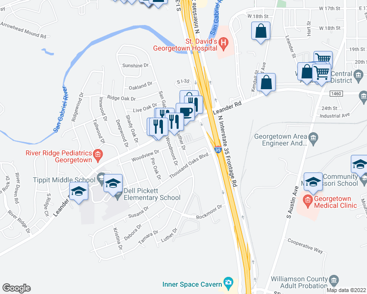 map of restaurants, bars, coffee shops, grocery stores, and more near 152-210 Luther Drive in Georgetown