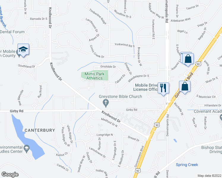 map of restaurants, bars, coffee shops, grocery stores, and more near 3386-3400 Dandale Drive in Mobile