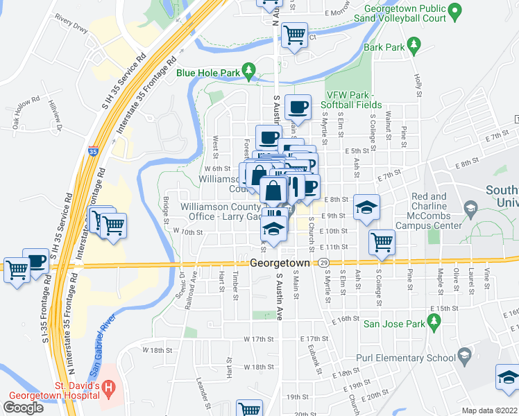 map of restaurants, bars, coffee shops, grocery stores, and more near 810 South Rock Street in Georgetown