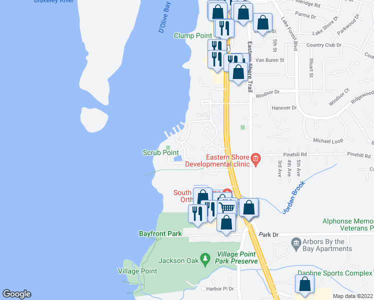 map of restaurants, bars, coffee shops, grocery stores, and more near 7 Yacht Club Drive in Daphne