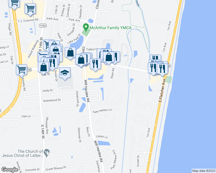 map of restaurants, bars, coffee shops, grocery stores, and more near 2270 Captain Kidd Drive in Fernandina Beach