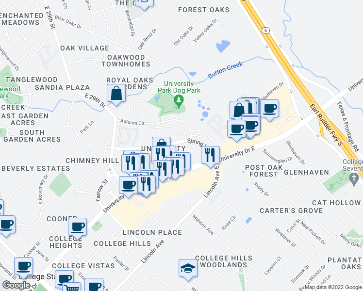 map of restaurants, bars, coffee shops, grocery stores, and more near 1100 Spring Loop in College Station