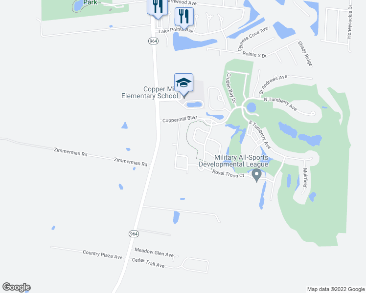 map of restaurants, bars, coffee shops, grocery stores, and more near 3186 Meadow Grove Avenue in Zachary