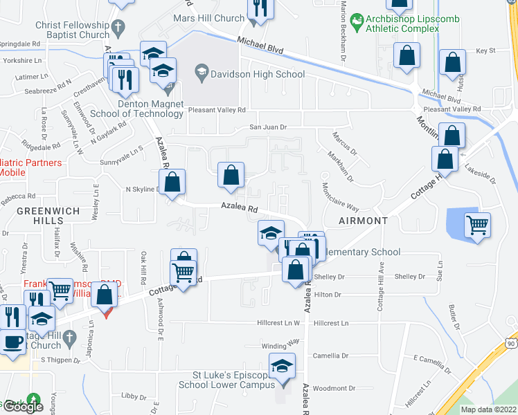 map of restaurants, bars, coffee shops, grocery stores, and more near 651 Azalea Road in Mobile