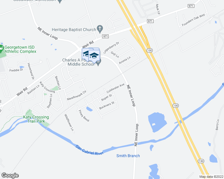 map of restaurants, bars, coffee shops, grocery stores, and more near 901 Big Rocky Bend in Georgetown