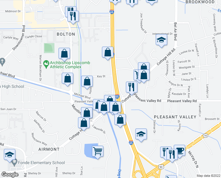 map of restaurants, bars, coffee shops, grocery stores, and more near 1350 West Interstate 65 Service Road South in Mobile