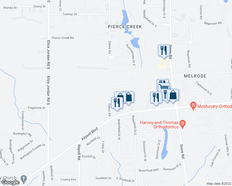 map of restaurants, bars, coffee shops, grocery stores, and more near 10215 Hunters Trace South in Mobile