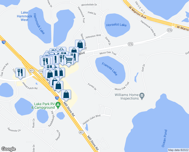 map of restaurants, bars, coffee shops, grocery stores, and more near 5372-5374 Moss Oak Trail in Lake Park