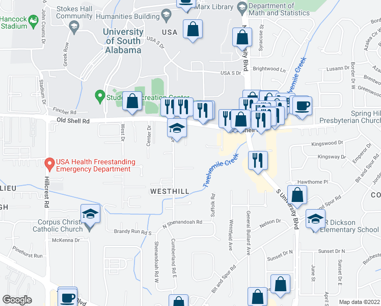 map of restaurants, bars, coffee shops, grocery stores, and more near 133 East Drive in Mobile