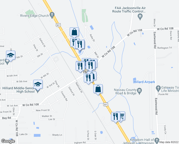 map of restaurants, bars, coffee shops, grocery stores, and more near in Hilliard