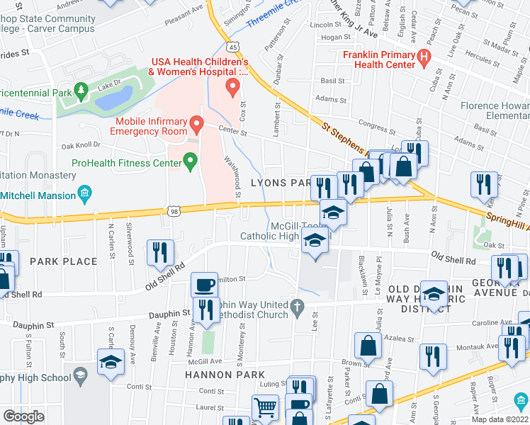 map of restaurants, bars, coffee shops, grocery stores, and more near 1621 Spring Hill Avenue in Mobile