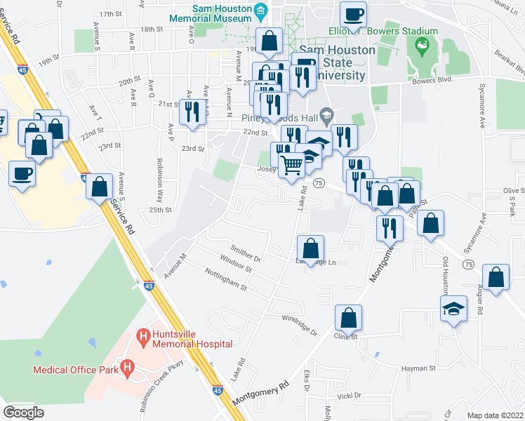 map of restaurants, bars, coffee shops, grocery stores, and more near 2452 Lake Road in Huntsville