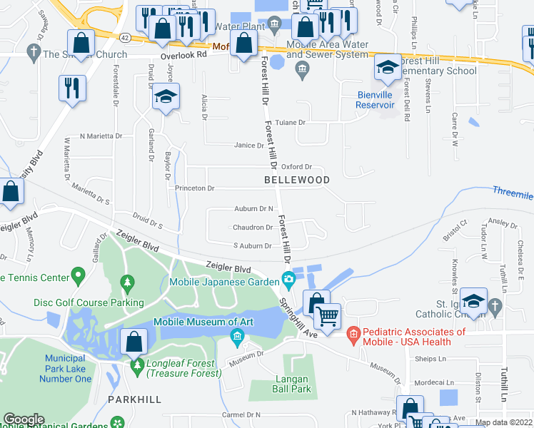 map of restaurants, bars, coffee shops, grocery stores, and more near 4805 Auburn Drive North in Mobile