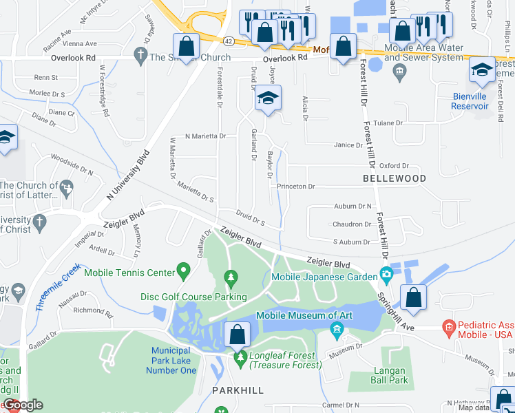 map of restaurants, bars, coffee shops, grocery stores, and more near 1108 Garland Drive in Mobile