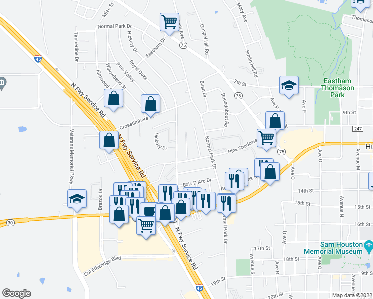 map of restaurants, bars, coffee shops, grocery stores, and more near Sleepy Hollow Circle in Huntsville