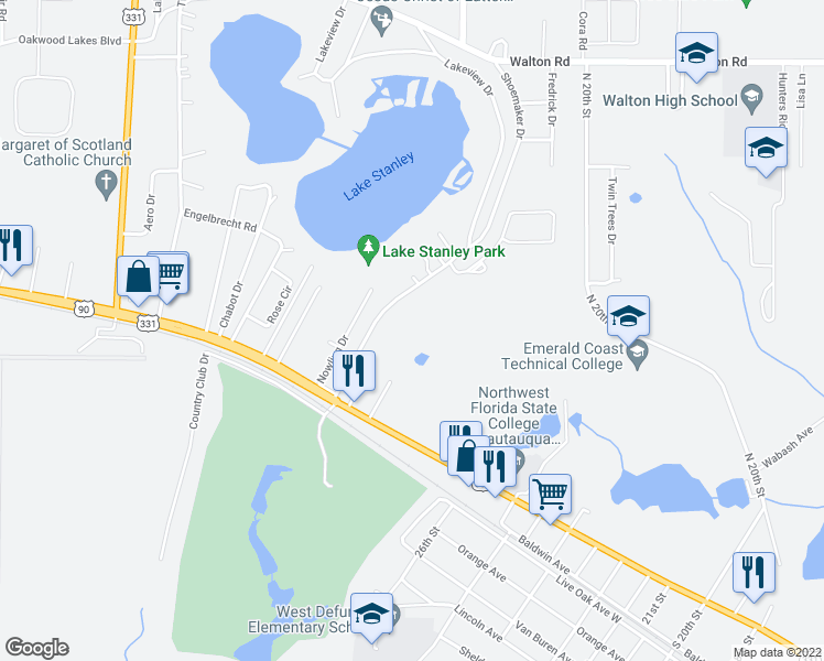 map of restaurants, bars, coffee shops, grocery stores, and more near 214 Shoemaker Drive in DeFuniak Springs
