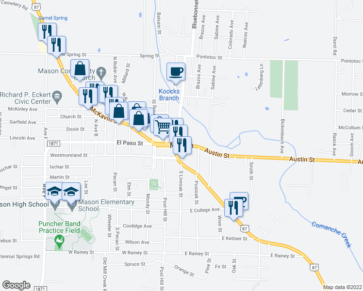 map of restaurants, bars, coffee shops, grocery stores, and more near in Mason