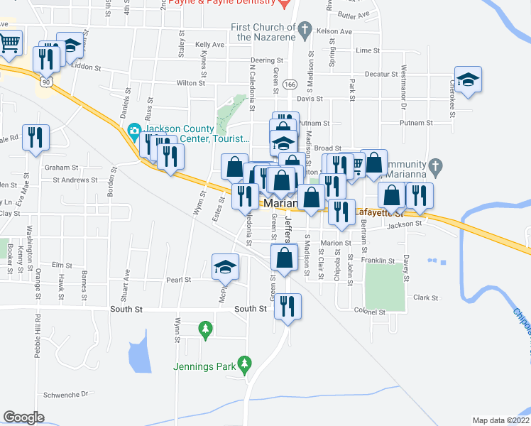 map of restaurants, bars, coffee shops, grocery stores, and more near 4415a Constitution Lane in Marianna