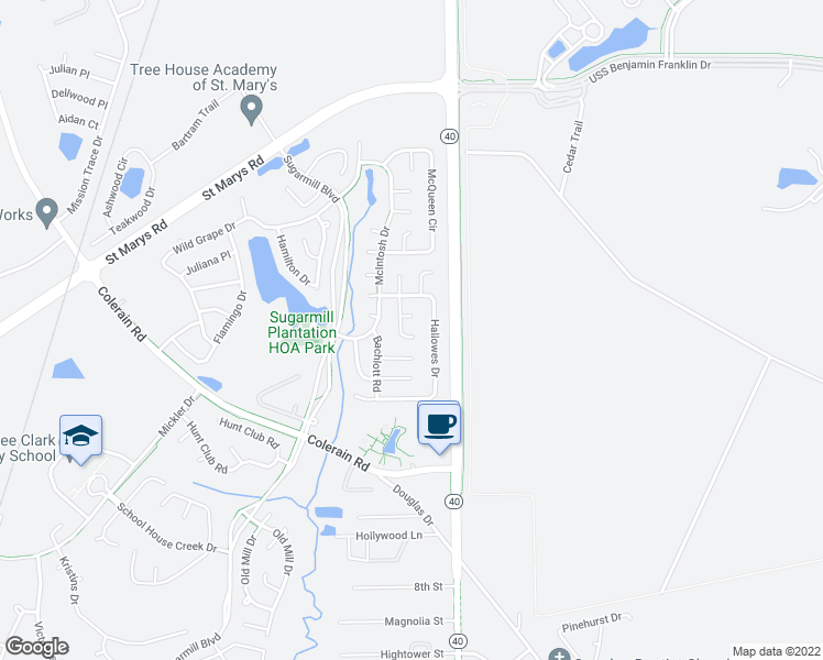 map of restaurants, bars, coffee shops, grocery stores, and more near 316 Hallowes Drive in Saint Marys