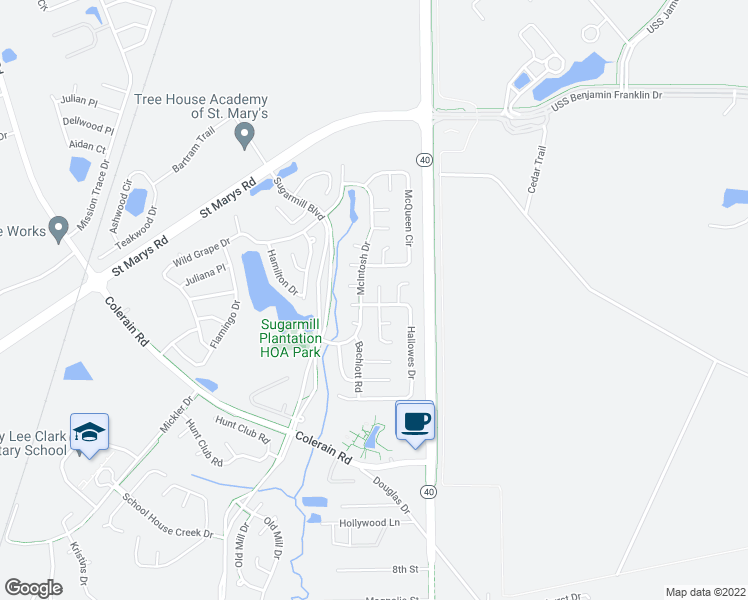 map of restaurants, bars, coffee shops, grocery stores, and more near 101 Chandler Way in Saint Marys