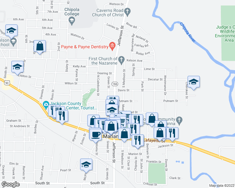 map of restaurants, bars, coffee shops, grocery stores, and more near 2946 Jefferson Street in Marianna