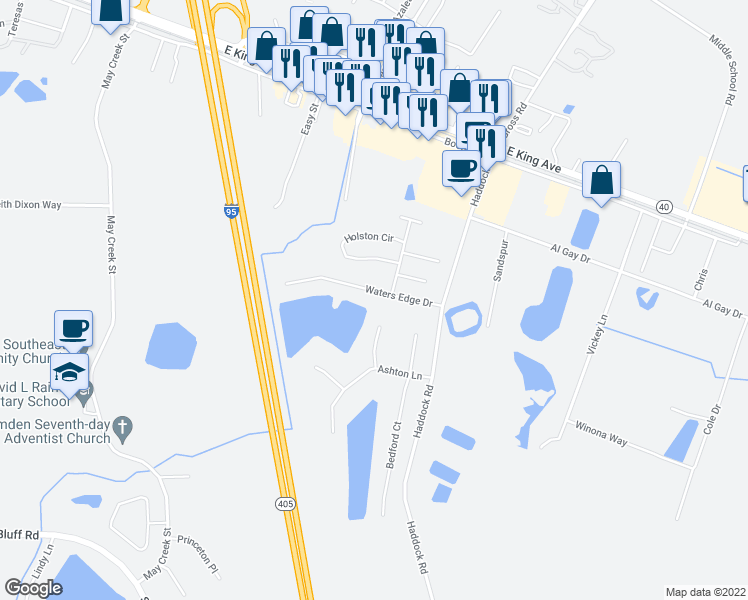 map of restaurants, bars, coffee shops, grocery stores, and more near 206 Waters Edge Drive in Kingsland