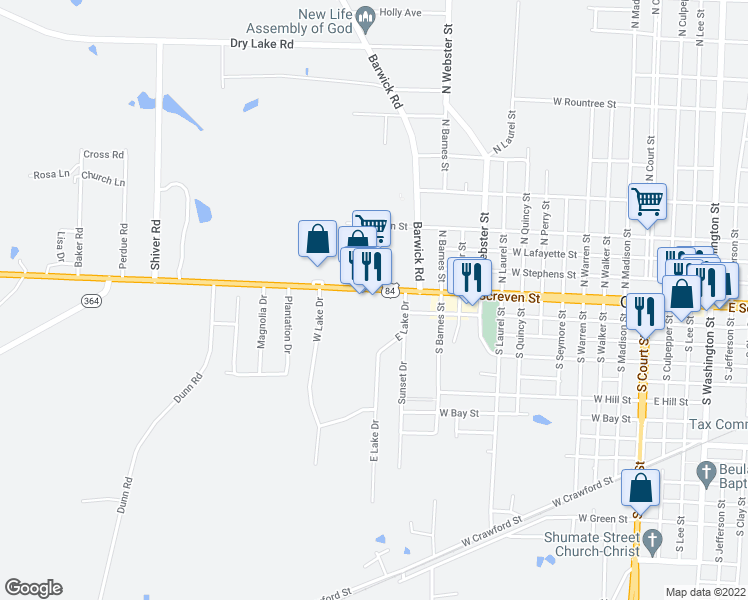 Map Of Quitman Georgia.1304 West Screven Street Quitman Ga Walk Score