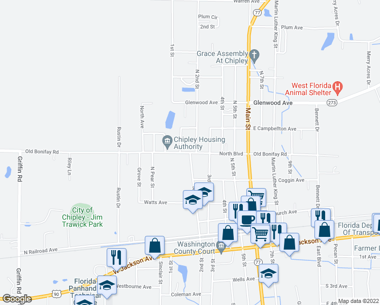 map of restaurants, bars, coffee shops, grocery stores, and more near Old Bonifay Road in Chipley