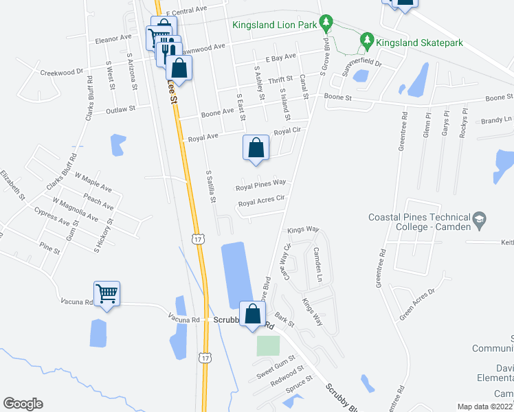 map of restaurants, bars, coffee shops, grocery stores, and more near 111 Royal Acres Circle in Kingsland