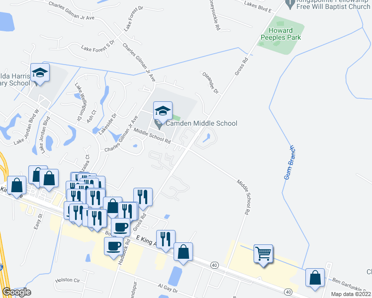map of restaurants, bars, coffee shops, grocery stores, and more near 100-114 Gardenia Drive in Kingsland