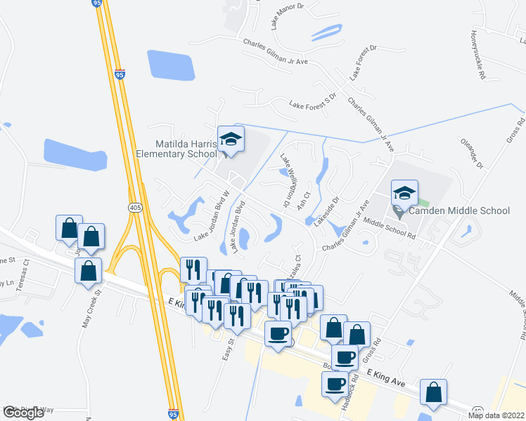 map of restaurants, bars, coffee shops, grocery stores, and more near 110 Rising Mist Way in Kingsland