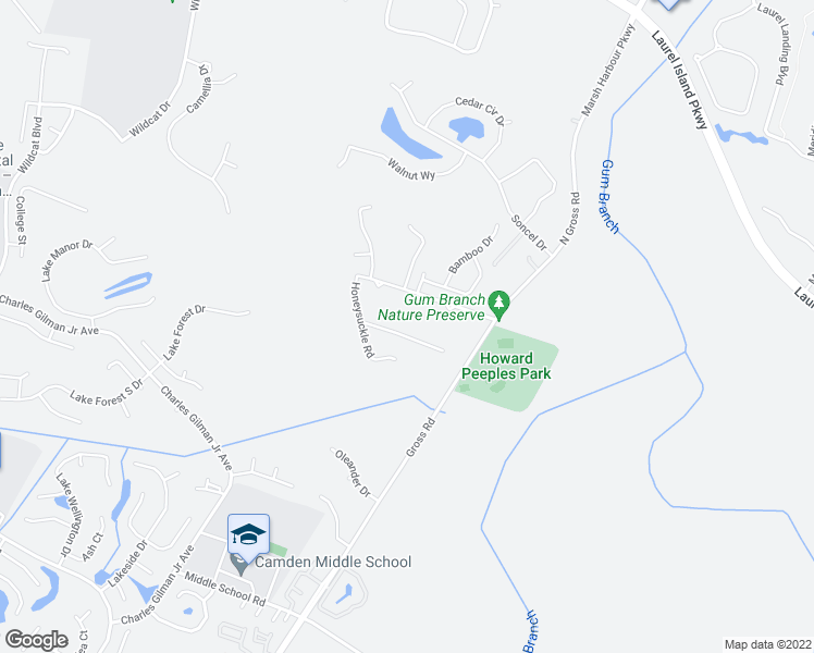 map of restaurants, bars, coffee shops, grocery stores, and more near 115 Hydrangea Road in Kingsland