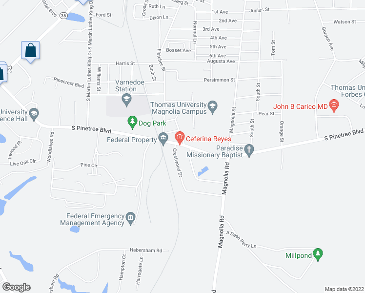 map of restaurants, bars, coffee shops, grocery stores, and more near 101 Crestwood Drive in Thomasville