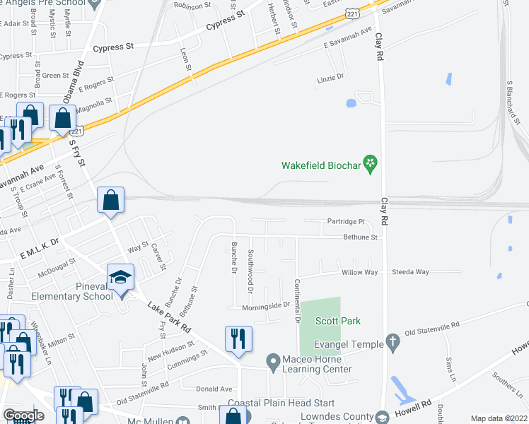 map of restaurants, bars, coffee shops, grocery stores, and more near 20 Pinetree Circle in Valdosta