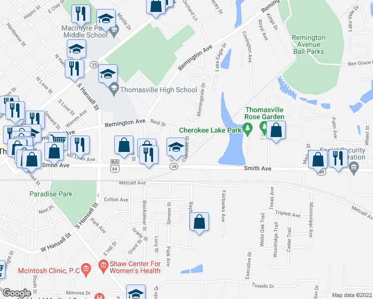 map of restaurants, bars, coffee shops, grocery stores, and more near 137 Cherokee Street in Thomasville