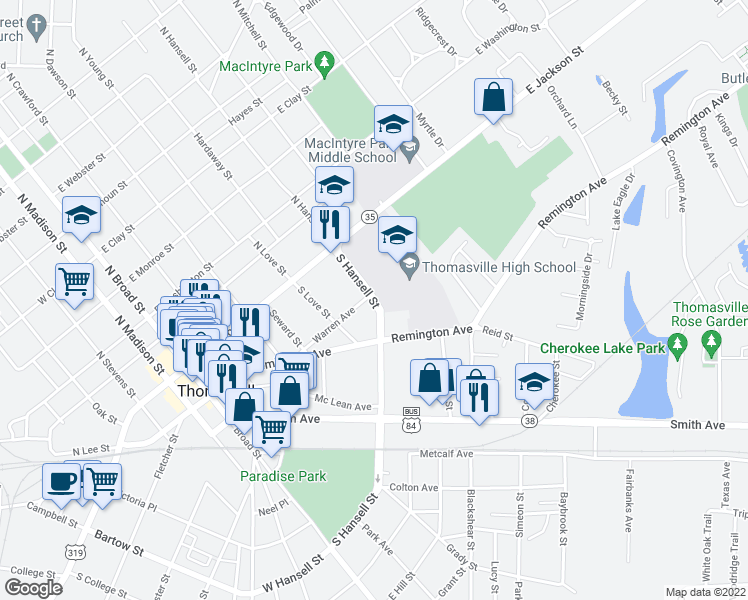 map of restaurants, bars, coffee shops, grocery stores, and more near 315 South Hansell Street in Thomasville