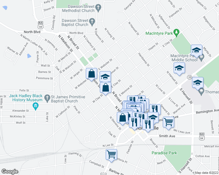 map of restaurants, bars, coffee shops, grocery stores, and more near 430 North Broad Street in Thomasville