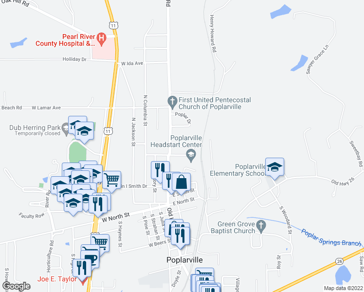 map of restaurants, bars, coffee shops, grocery stores, and more near Maria Street in Poplarville