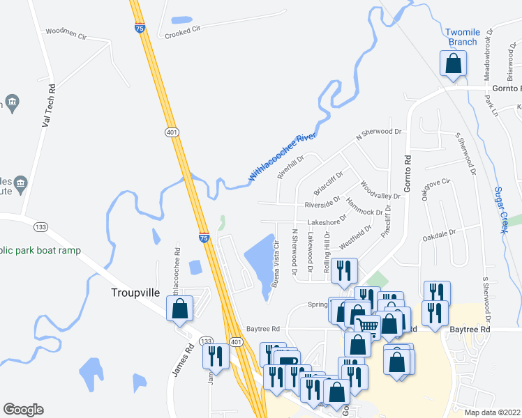 map of restaurants, bars, coffee shops, grocery stores, and more near 2411 Riverside Drive in Valdosta