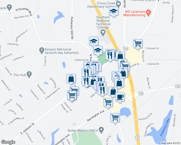 map of restaurants, bars, coffee shops, grocery stores, and more near 1529 East Jackson Street in Thomasville