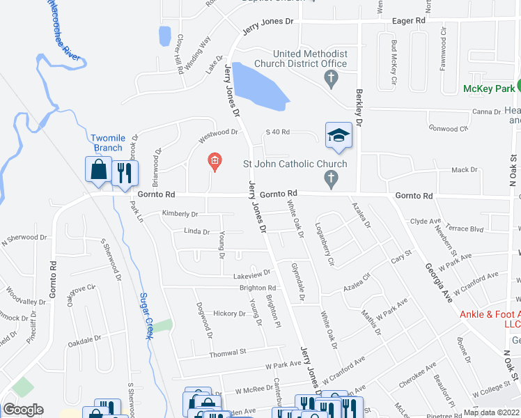 map of restaurants, bars, coffee shops, grocery stores, and more near 2414 Jerry Jones Drive in Valdosta