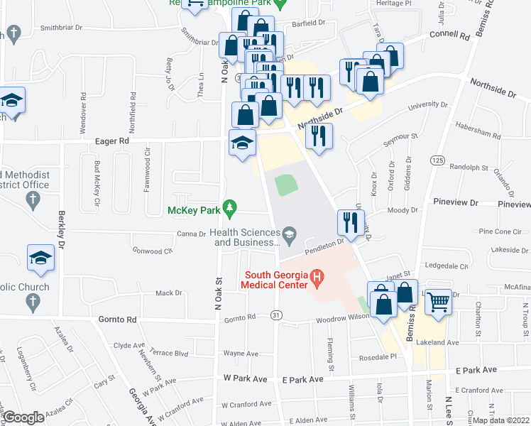 map of restaurants, bars, coffee shops, grocery stores, and more near 2700-2864 North Patterson Street in Valdosta